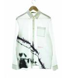 JUU4401 Printed Cotton Shirt PSYLENCE イバラ ローズ プリント シャツ 長袖 3 ホワイト 【ブランド古着ベクトル】【中古】 210504