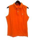 ラルフローレン RALPH LAUREN ポロシャツ L オレンジ コットン 胸元 ワンポイント ポニー 刺繍 鹿の子 ノースリーブ