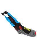 メゾンマルジェラ Maison Margiela ハイ ソックス 靴下 M 黒 ブラック 青 ブルー コットン デザイン S15780 ◎