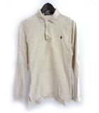 ポロ バイ ラルフローレン Polo by Ralph Lauren ポロシャツ S ベージュ コットン 長袖 ワンポイント ポニー 刺繍 リブ