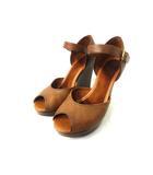 セリーヌ CELINE サンダル ウェッジ オープントゥ レザー ストラップ 36 茶 ブラウン 靴