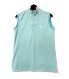 パーリーゲイツ PEARLY GATES ゴルフ GOLF ポロシャツ カットソー 2 L グリーン ホワイト ノースリーブ ハーフジップ ボーダー柄