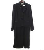 ニナリッチ NINA RICCI フォーマル スーツ 9 黒 ブラック トリアセテート ワンピース ジャケット 無地 セットアップ