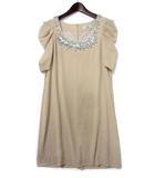 グレースコンチネンタル GRACE CONTINENTAL ワンピース 38 M ベージュ ビジュー 装飾 シフォン ドレス