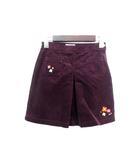 ミキハウス mikihouse キッズ スカート 130 紫 パープル コットン 無地 コーデュロイ ワッペン 子供服