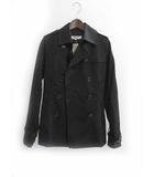 ナチュラルビューティーベーシック NATURAL BEAUTY BASIC Pコート M 黒 ブラック ポリエステル 無地 シンプル
