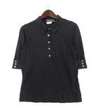 サルヴァトーレフェラガモ Salvatore Ferragamo ポロシャツ I 40 ダーク グレー ウール シルク 5分袖 ロゴ ヴァラ ボタン
