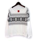 トミーガール tommy girl Tシャツ M 白 ホワイト コットン 長袖 総柄 ワンポイント 刺繍