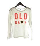 オールドネイビー OLD NAVY Tシャツ カットソー L/G 10-12 白 コットン 長袖 プリント ロゴ