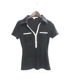 トミーヒルフィガー TOMMY HILFIGER ニット カットソー ニットソー XS 0 黒 ブラック コットン 半袖 刺繍 ロゴ リブ編み
