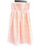 キュー Q ワンピース M 2 ピンク コットン 花柄 ひざ丈 刺繍 タック チューブトップ ベアトップ