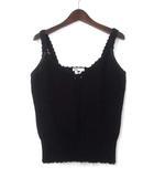 ダブルスタンダードクロージング ダブスタ DOUBLE STANDARD CLOTHING ニット キャミソール 38 M 黒 ブラック コットン かぎ針編み 0209-040-172