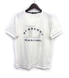 バーバリーブラックレーベル BURBERRY BLACK LABEL Tシャツ カットソー 2 M 白 ホワイト コットン 半袖 ビッグ ロゴ プリント