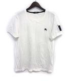 バーバリーブラックレーベル BURBERRY BLACK LABEL Tシャツ カットソー 2 M 白 ホワイト コットン 半袖 胸元 ワンポイント 刺繍