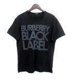 バーバリーブラックレーベル BURBERRY BLACK LABEL Tシャツ カットソー 2 M 黒 ブラック コットン 半袖 ロゴ プリント