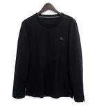 バーバリーブラックレーベル BURBERRY BLACK LABEL ロンT カットソー 2 M 黒 ブラック コットン 長袖 胸元 ワンポイント 刺繍