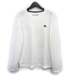 バーバリーブラックレーベル BURBERRY BLACK LABEL ロンT カットソー 2 M 白 ホワイト コットン 長袖 胸元 ワンポイント 刺繍