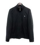 バーバリーブラックレーベル BURBERRY BLACK LABEL トラック ジャケット ブルゾン 2 M 黒 ブラック コットン 長袖 胸元 ワンポイント 刺繍 ジップアップ