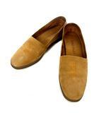 コールハーン COLE HAAN スリッポン フラット シューズ 6 1/2 M 23.5cm キャメルブラウン レザー ロゴ 刺繍 靴