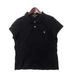 ラルフローレン RALPH LAUREN ポロシャツ L 黒 ブラック コットン 半袖 鹿の子 ポニー 刺繍