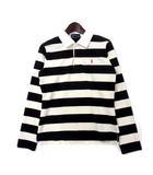 ラルフローレン RALPH LAUREN ポロシャツ 160 ブラック アイボリー コットン ボーダー柄 ポニー 刺繍 ラガーシャツ
