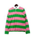 ラルフローレン RALPH LAUREN ポロシャツ L ピンク グリーン コットン ボーダー柄 ポニー 刺繍 ラガーシャツ