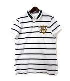 ラルフローレン RALPH LAUREN ポロシャツ 7f 白 ホワイト コットン 半袖 鹿の子 ボーダー柄 ポニー 刺繍