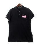 ラルフローレン RALPH LAUREN ポロシャツ L 黒 ブラック コットン 半袖 鹿の子 ポニー 刺繍 PINK PONY