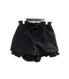 カオン Kaon ショート パンツ 36 S 黒 ブラック ポリエステル 無地 シンプル ウエストゴム リボン フリル ka13-grspt2