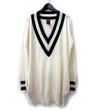 ダブルスタンダードクロージング ダブスタ DOUBLE STANDARD CLOTHING ニット セーター F アイボリー ウール 長袖 ライン ビッグシルエット チルデン 5914044