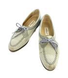 銀座ヨシノヤ GINZA yoshinoya ウォーキング シューズ 23 1/2 23.5cm ライトブルー系 レザー メッシュ 靴