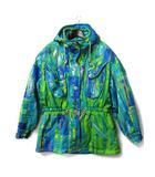 エレッセ ellesse 中綿 ジャケット M ブルー グリーン フード付き ジップアップ スキーウェア