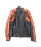 ハーレーダビッドソン HARLEY DAVIDSON ライダース ジャケット L ブラック オレンジ レザー シングル パンチング ロゴ 刺繍 RN103819 CA03402
