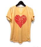 ナイキ NIKE RUNNING Tシャツ カットソー L オレンジ ポリエステル 半袖 プリント Vネック ドライフィット スポーツウエア