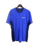 ナイキ NIKE カットソー Tシャツ L 青 ブルー ポリエステル 半袖 ロゴ プリント スポーツ RUNNING DRI-FIT