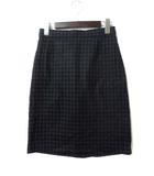 デミルクス ビームス Demi-Luxe BEAMS スカート 36 S ネイビー グレー ウール ひざ丈 ギンガム チェック タイト