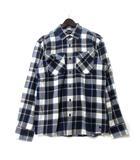 バーバリーブラックレーベル BURBERRY BLACK LABEL シャツ 3 L 紺 ネイビー 長袖 チェック ホース 刺繍