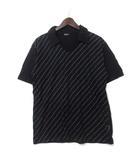 コムサイズム COMME CA ISM ポロシャツ L 黒 ブラック コットン 半袖 ドット スキッパー