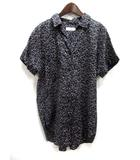 レプシィム ローリーズファーム LEPSIM LOWRYS FARM シャツ F 黒 ブラック テンセル コットン 半袖 総柄 オープンカラー