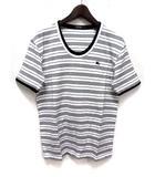 バーバリーブラックレーベル BURBERRY BLACK LABEL Tシャツ カットソー 3 白 ホワイト コットン 半袖 ボーダー柄 胸元 ワンポイント 刺繍 BMV16-845-02