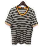バーバリーブラックレーベル BURBERRY BLACK LABEL Tシャツ カットソー 3 チャコールブラウン コットン 半袖 ボーダー柄 胸元 ワンポイント 刺繍 BMV16-845-78