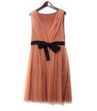 ティアラ Tiara ワンピース 3 M サーモン ピンク ノースリーブ チュール ギャザー ドレス A0139FA253-1