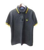フレッドペリー FRED PERRY ポロシャツ 36 91cm S 黒 ブラック コットン 半袖 ロゴ 刺繍 鹿の子