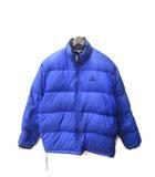 ナイキ NIKE ダウン ジャケット L 青 ブルー ナイロン 無地 シンプル ロゴ 刺繍 ジップアップ