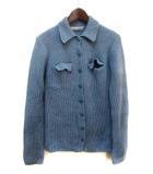 ツモリチサト TSUMORI CHISATO ニット セーター M ライトブルー ウール 長袖 リブ編み 胸元ポケット