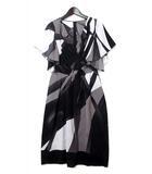 ノーベスパジオ NOVESPAZIO ワンピース 38 M 黒 ブラック カシュクール 配色 ドレス