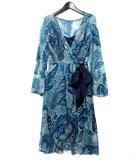 ノーベスパジオ NOVESPAZIO ワンピース 38 M 青 ブルー カシュクール シフォン ペイズリー柄 ドレス