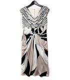 ノーベスパジオ NOVESPAZIO ワンピース 38 M ベージュ フレンチスリーブ Vネック 総柄 配色 ドレス