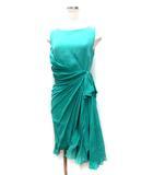 マックスマーラ MAX MARA ワンピース 38 緑 グリーン シルク ノースリーブ ドレス