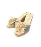 セリーヌ CELINE サンダル 36 ライト ベージュ ブルー 花 装飾 ウェッジソール